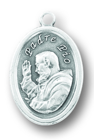 "Silver Oxidized medal of St. padre Pio. Back of medal says ""Pray for Us"". Dimensions"" 1""H x .75""W."