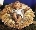 "2 Piece Infant and Manger for 27"" Fontanini Nativity.  Jesus is made of polymer and the manger is wood, bark & cork"