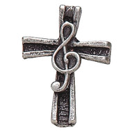 Pewter Clef on Cross Lapel Pin