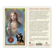 Sacred Heart of Jesus Marine Prayer Card with Marine Corp insignia in corner of card