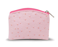 "Pink 3.25"" x 4""  Ostrich Skin Pattern Rosary Pouch with Anti-Tarnish Lining.   Rosary not included!"