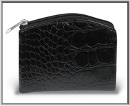 "Black 3.25"" x 4"" Crocodile Skin Pattern Rosary Pouch with Anti-Tarnish Lining. Rosary case has a zipper closure. Rosary not included!"