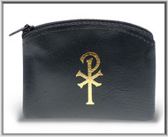 "Black 2.5"" x 3"" Calf Grain vinyl  Rosary Pouch. Chi rho design on front of pouch. Rosary case has a zipper closure. Rosary not included!"