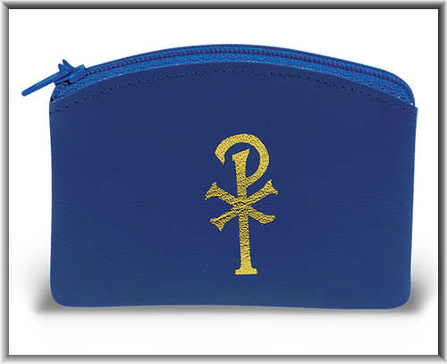 "Blue 2.5"" x 3"" Calf Grain vinyl  Rosary Pouch. Chi rho design on front of pouch. Rosary case has a zipper closure. Rosary not included!"