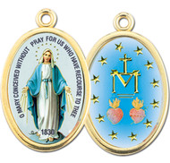 "7/8"" Enameled Oval Miraculous Picture Medal with Gold Highlights."