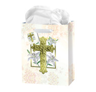 Small Easter Lily Gift Bag With Tissue. Dimensions:3 3/4X5X2""
