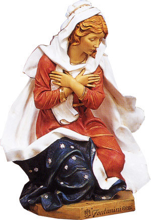 """Fontanini Nativity Mary Figure. Marble Based Resin. Measurements: 18.5""""H, 13.5""""W, 12""""D /27""""Scale"""