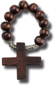 Dark Brown Wood Rosary Ring with Cross