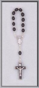 One Decade Black Wood Bead Rosary
