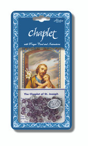Saint Joseph Deluxe Chaplet with Violet and Crystal Glass Beads. Packaged with a Laminated Holy Card & Instruction Pamphlet