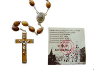 """8mm Olive Wood oval rosary mounted on a silver plated chain with centerpiece containing Soil from Bethlehem where Jesus was born. Rosary is about 21"""" inches long. This rosary is hand made in Bethlehem, the Holy Land. A very popular choice."""