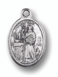 """Silver Oxidized medal of St. Benedict. Back of medal says """"Pray for Us"""". Dimensions"""" 1""""H x .75""""W."""