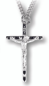 "2"" hammered crucifix with 24"" chain."