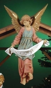 "Gloria Angel Fontanini Nativity Figure with Gold Leaf Wings. Marble Based Resin.  Measurements: 24""H, 15""W, 11""D / 27""Scale,. Weighs 17lbs"