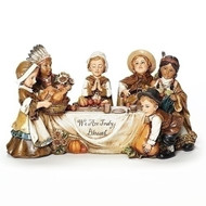 """Adorable table top decoration-a perfect for your Thanksgiving table! This 10.5"""" Kid Pilgrim Scene is a must have!  Dimensions: 5.5""""H 10.5""""W 5""""D. Table top Kid Pilrim Scene is made of a resin/stone mix"""