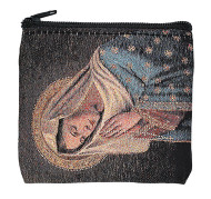 "Hand Woven Praying Madonna Rosary Case. This  3.5"" X 3""  praying madonna rosary case has a zipper close and an anti-tarnish lining. Rosary not included!"