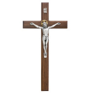 "8"" or 12"" Beveled Walnut Cross with Silver Corpus and Gold Halo. Packaged in a  gift box. Ideal wedding or house warming present"