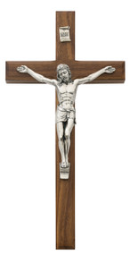 "10"" Beveled Walnut Wall Cross with Silver Corpus.  Packaged in a gift box. Ideal wedding or house warming present"