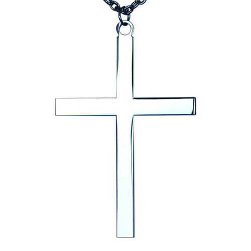 """4"""" x 2 3/4"""" Silver plated pectoral cross with chain - St. Jude Shop"""