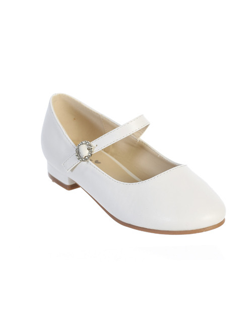 Girls matte white buckle shoe with mini heel. Shoe has a with a circle of rhinestones around the buckle for added decoration.