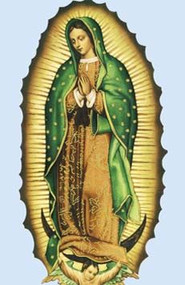 """Our Lady of Guadalupe Bulletin. MeasurementS: 8.5"""" x 11"""" - Standard flat. folded:8.5"""" x 5.5"""".  sold in packs of 100 only!"""