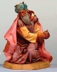 "Fontanini Nativity Kneeling King Gaspar figure. Marble Based Resin. Measures:  21""H x 18.5""W x 13""D / 27""SCALE"