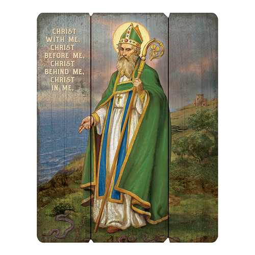 """This Wood Pallet Sign features beautiful artwork by Michael Adams design and is great for home décor and also is a great way to remember the Saint. -- Wood -- 12"""" W x 15"""" H x .75"""" D"""