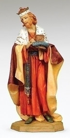 "Fontanini Nativity, Standing King Melchior. Marble Based Resin. Measures: 27""H x  13""W x  12""D / 27""SCALE"