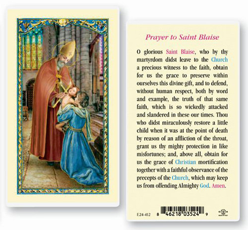 Prayer to St Blaise Laminated Holy Card, Patron of Throat Diseases