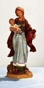 "Fontanini Nativity 27""H Rebecca the Shepherd Woman with Child and Vase. Marble Based Resin"