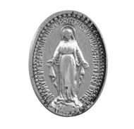 "Miraculous Medal Lapel Pin. Dimensions: 0.5"" x 0.5"" (13mm x 13mm). Sterling Silver Miraculous Medal Lapel Pin comes in a deluxe velvet gift box and is made in USA."