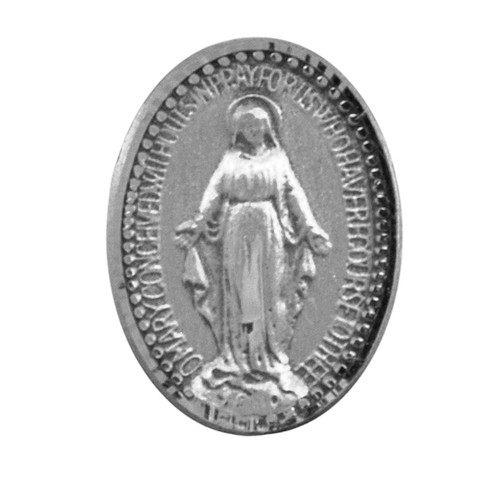 """Miraculous Medal Lapel Pin. Dimensions: 0.5"""" x 0.5"""" (13mm x 13mm). Sterling Silver Miraculous Medal Lapel Pin comes in a deluxe velvet gift box and is made in USA."""