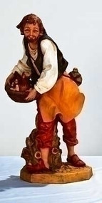 "Fontanini Nativity 25"" Lucas, Shepherd Figure with Hen in Basket. Marble Based Resin. 27""Scale"