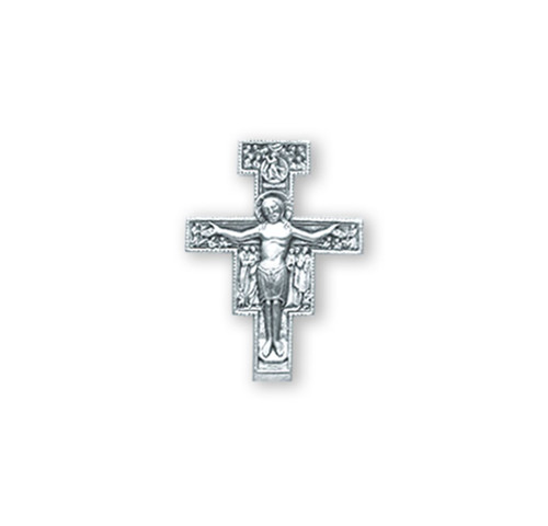 """Sterling Silver San Damiano Cross Lapel Pin. Dimensions: 0.5"""" x 0.5"""" (13mm x 13mm). Sterling Silver San Damiano Cross Lapel Pin comes in a deluxe velvet gift box and is made in USA."""