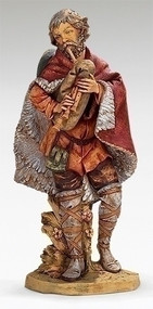 "Fontanini Nativity, Josiah the Bagpiper. Marble Based Resin. 27""H/27""Scale"