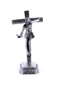 "Gift of the Spirit Pewter Small Standing Crucifix. This pewter Gifts of the Holy Spirit Standing Crucifix depicts Christ holding the Holy Spirit Dove for release. Standing cross is 3.5""H."