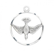 """Round Sterling Silver Holy Spirit Medal-Pendant. Holy Spirit Medal is a Solid .925 Sterling Silver. Holy Spirit Medal comes on a 18"""" genuine rhodium plated curb chain in a deluxe velour gift box. Dimensions: 0.8"""" x 0.6"""" (19mm x 16mm). Made in the USA"""