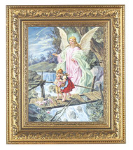 "Guardian Angel on Bridge Picture in a Detailed Ornate Gold Leaf Antique Frame.  Prints are backed with sturdy artboard, and then set in a wood frame, ready for hanging. Italian Lithograph Under Glass. Print Size: 8"" x 10"".  Overall Dimensions:12-1/2"" x 14-1/2"""
