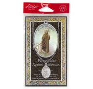 "Patron Saint of Epidemics, St. Roch (St. Rocco)   1.125"" Genuine Pewter Saint Medal with Stainless Steel Chain. Silver Embossed Pamphlet with Patron Saint Information and Prayer Included. Lists Biography/History of Each Saint. Gives the Patron Attributes, Feast Day and Appropriate Prayer. (3.25""x 5.5"")"