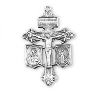 """Solid .925 Sterling Silver Pardon Crucifix. The Sterling Silver Pardon Crucifix comes with 24"""" genuine rhodium endless chain. Granted by Pope Pius X, the Pardon Crucifix is worn to obtain the pardon of God for one's neighbor and loved ones. Dimensions: 2.1"""" x 1.3"""" (52mm x 34mm). Deluxe velvet gift box included. Made in USA."""