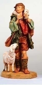 "Fontanini Nativity - Gabriel, the Shepherd Boy with Sheep and Lamb. Marble Based Resin.  27""H"