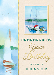 """A Birthday Prayer 4 7/8"""" x 6 3/4"""" 25 per box (Gold Foil) Inside Verse: Wishing you a blessed day and praying that the year ahead will be filled with. Peace and Happiness."""