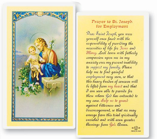 """Prayer to St. Joseph for Employment. Clear, laminated Italian holy cards with Gold Accents. Features World Famous Fratelli-Bonella Artwork. 2.5"""" x 4.5"""" 25 Per Pack"""