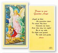 """Generic  Picture--Prayer to Your Guardian Angel. Clear, laminated Italian holy cards with Gold Accents. Features World Famous Fratelli-Bonella Artwork. 2.5"""" x 4.5"""""""
