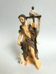 "This 4"" statue of St. John the Baptist is finely detailed and expertly sculpted by Barbara Tortolani, A New England artisan noted for exquisite life-like detail that she protrays in all her creations. They are crafted in cold cast resin and hand painted for fine detail resulting a a venerable gift to be always cherished!"