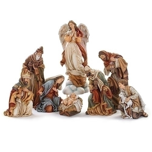 8 Piece Nativity. The Nativity Set is made of a polyresin material. The Nativity's tallest piece is the Angel on a Cloud (132660), The Three Wise Men, a Shepherd and the Holy Family.