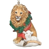 "Christmas Ornament ~ Lion with Wreath and Lamb . Measurements: 3.937""H 2.755""W 2.362""D. Made of a Resin/Stone Mix"
