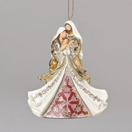 """4.75"""" Laser Cut Holy Family Ornament in silvers and golds. Laser Cut Holy Family Ornament measures: 4.72""""H x 1.97""""W x 4.3""""L. Ornament is made of a resin/stone mix."""