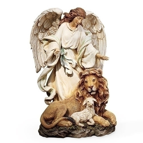 """Angel with Lion and the Lamb Figure. This beautiful Angel watching over the Lion and Lamb. In Christianity the lion stands for Christ resurrected, the lamb for Christ's sacrifice. This figures measurements are 9.25""""H x 5.75""""W and 5.5""""D. The figure is made of a resin/stone mix."""