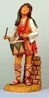 """Fontanini 27""""H Jareth, Village Drummer Boy. Marble Based Resin. Measures: 25""""H x 10""""W x 11""""D/27"""" Scale"""